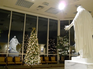 The Christus Statue at the Visitors' Center at Christmas-time