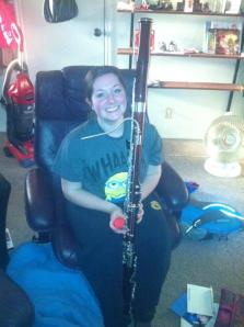 """Our sister missionary with her treasured bassoon.  She missed it."""