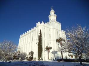 Snow on the palm trees at the St. George Temple.