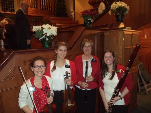 Missionary Christmas Concert Instrumental Quartet:  Sister Schneider-Violin,  Sister Groeneveld-Viola,  Sister Sutherland-Clarinet, Me - Bassoon! :)